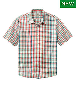 Men's Organic Cotton Seersucker Shirt, Short-Sleeve, Slightly Fitted, Plaid